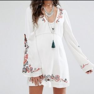 Free People Holiday Folk Ivory Embroidered Dress 2